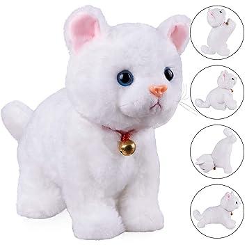 Amazon Com White Plush Cat Stuffed Animal Interactive Cat Robot Toy