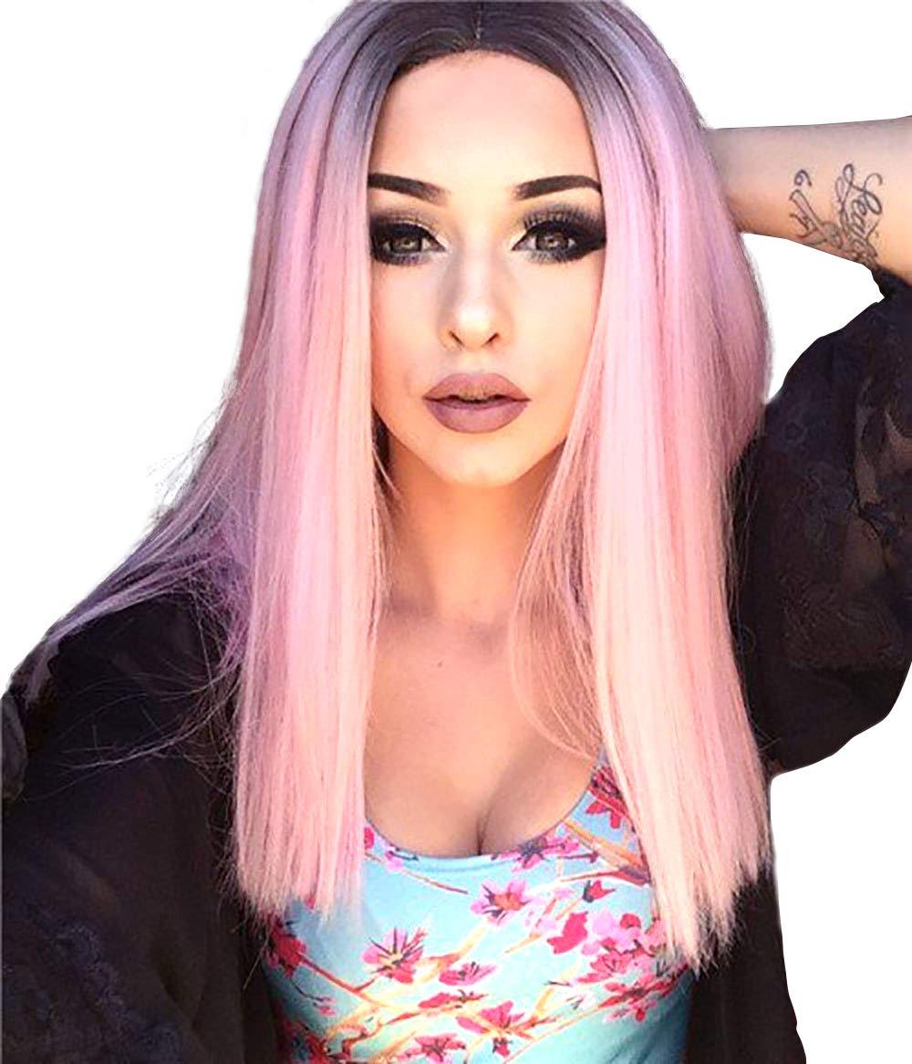Ombre Dark Pink WOWTOY Perruque Cosplay Pour femmes synth/étique ondul/ée naturelle longue perruque rose avec la perruque Cap