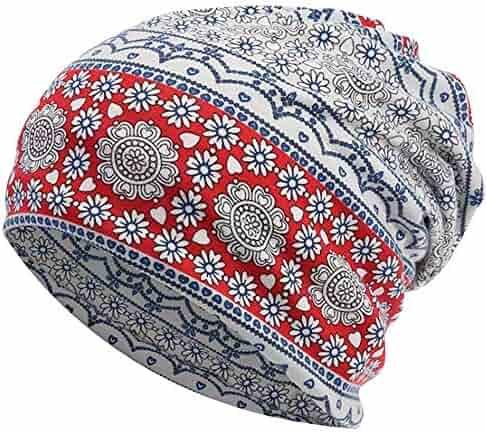 78d06d6c401bb Qunson Women s Stretchy Cotton Chemo Cap Cancer Hat Slouchy Beanie Turban