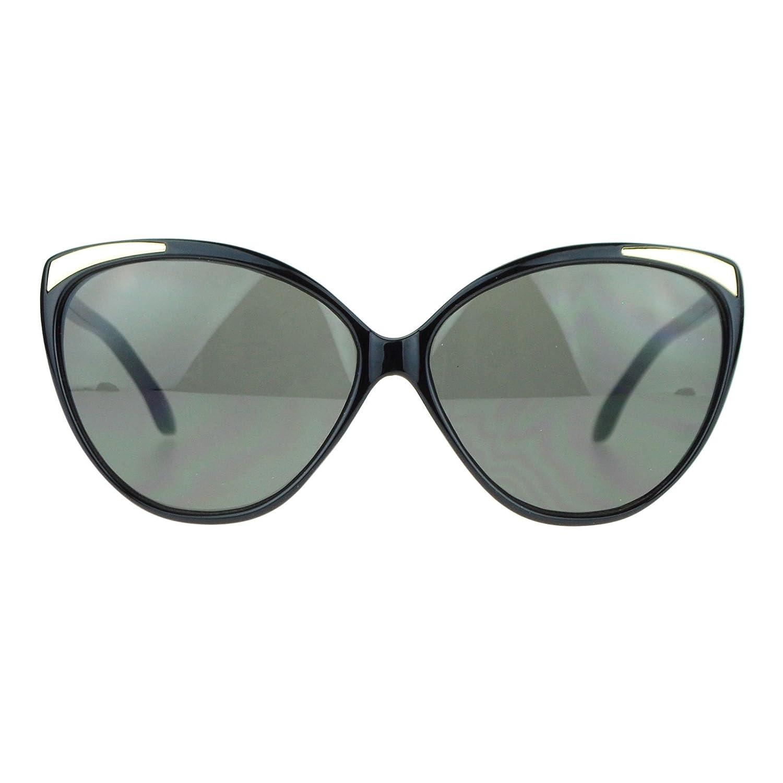 d8c4ac24b0e Amazon.com  SA106 Womens Oversize Metal Brow Trim Cat Eye Butterfly  Sunglasses Black Gold  Clothing