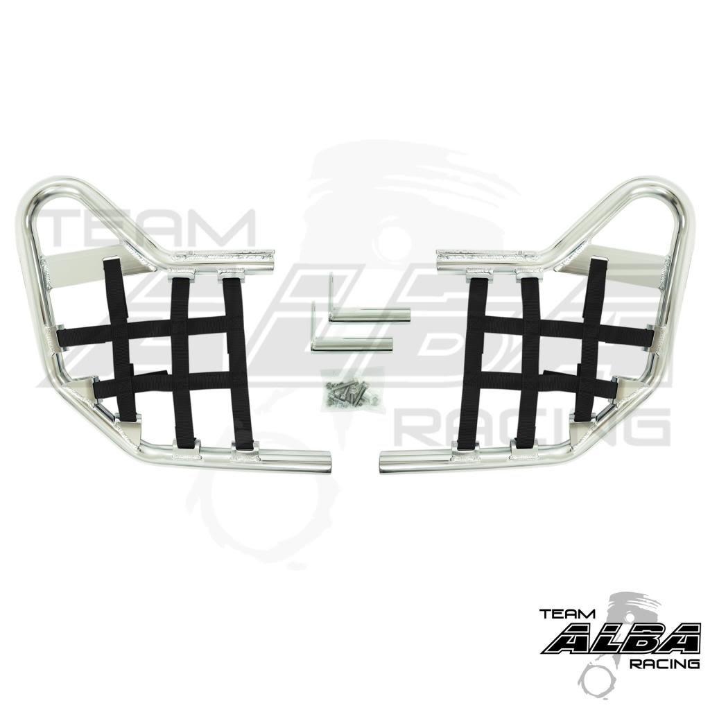YFM 125 2011-2013 Raptor 250 YFZ 250 2008-2013 Yamaha Raptor 125 Standard Nerf Bars Silver w//Orange Net