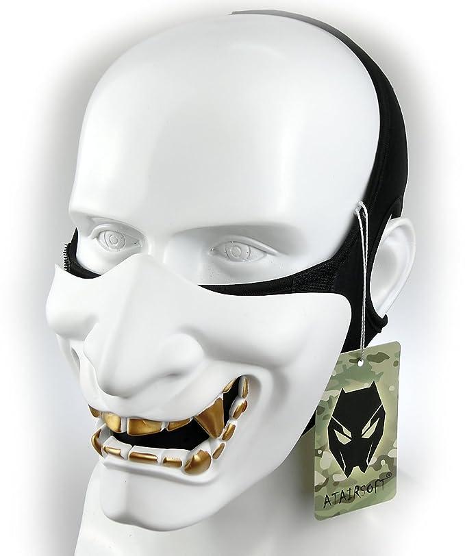 Atairsoft Máscara para disfraz de halloween, cosplay, BB, demonio, diablo, monstruo, kabuki, samurái, hannya, oni, máscara que cubre la mitad de la ...