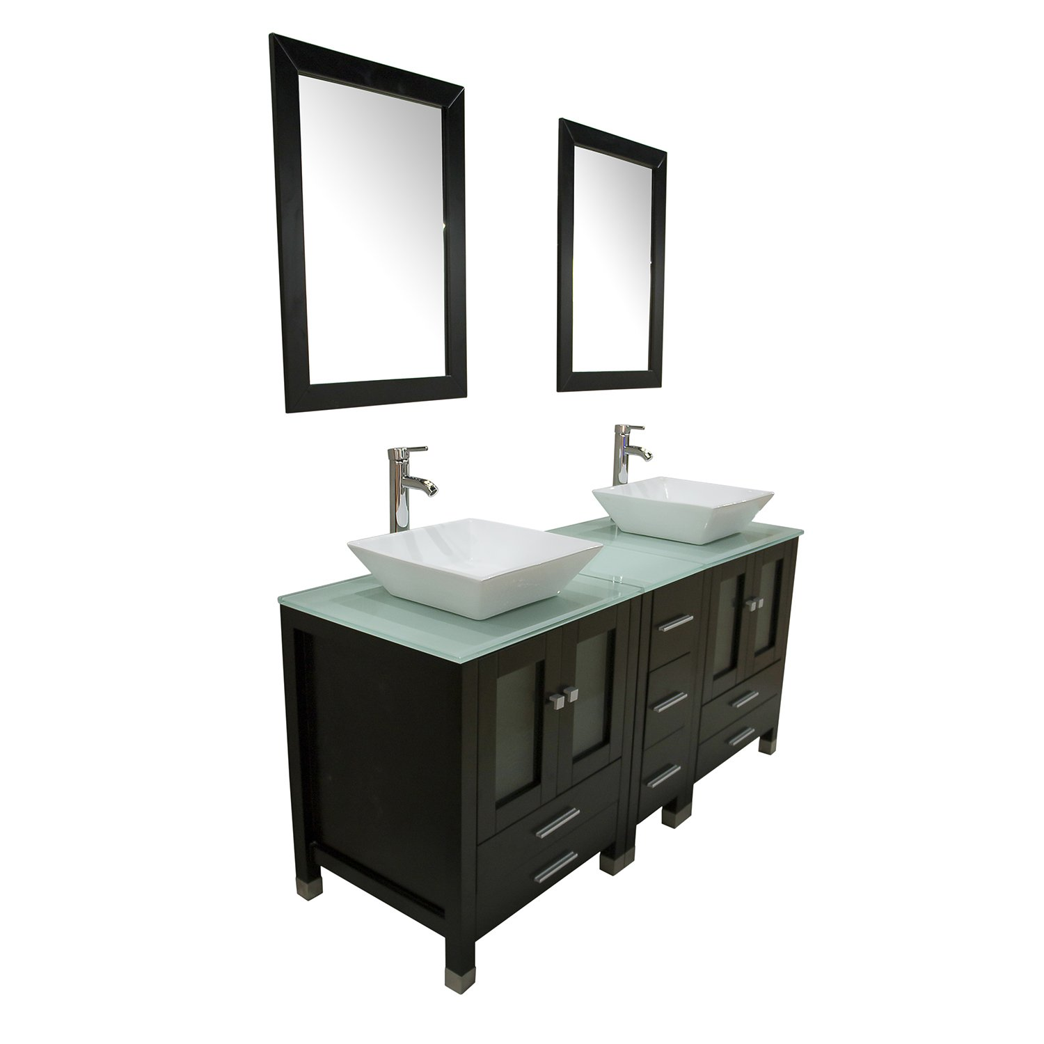 Wood bathroom cabinet - Amazon Com Walcut 60 Double Ceramic Sink Solid Wood Bathroom Tempered Glass Countertop Vanity Cabinet Modern Contemporary Design W Mirror Kitchen