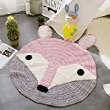 MicBridal Round Nursery Rugs Baby Crawling Mats Kids Play Mat Cute Fox Design Home Decoration Carpet Mat Area Rugs - Perfect for Kids Room, Bedroom, Living Room Fox