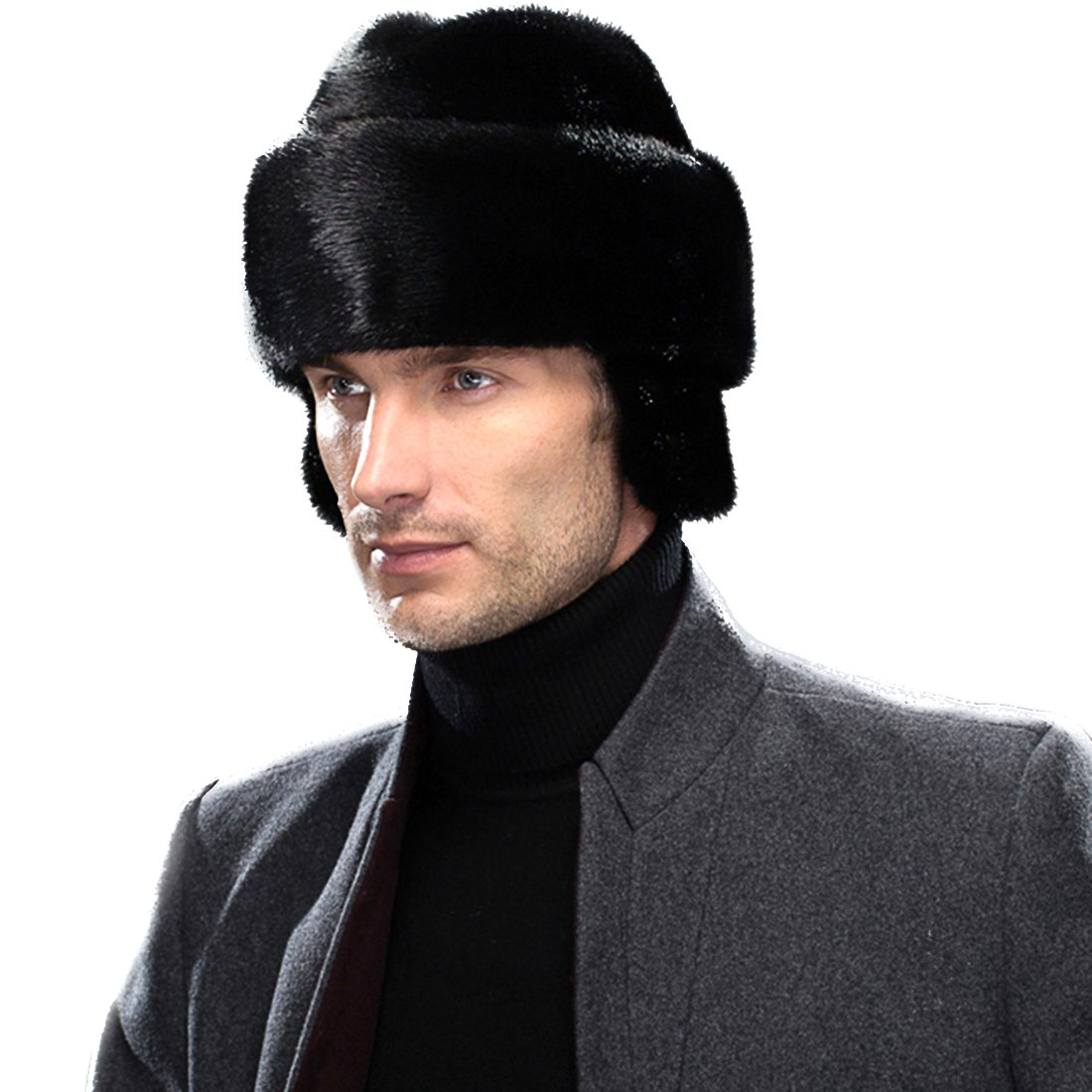 URSFUR Men's Mink Fur Russian Cossack Hats Caps with Ear Flaps