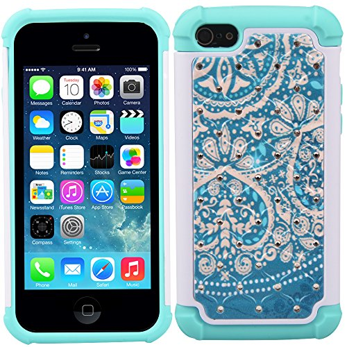 5C Case, iPhone 5C Case, MagicSky [Shock Absorption] Studded Rhinestone Bling Hybrid Dual Layer Armor Defender Protective Case Cover For Apple iPhone 5C - Flower2