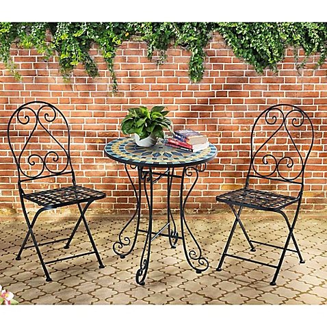Mosaic Bistro 3 Piece Outdoor Table And Chairs Set Buy Online In Uae Lawn Garden Products In The Uae See Prices Reviews And Free Delivery