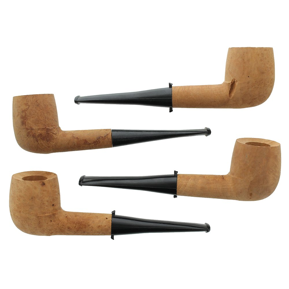 Unfinished Briar Smoking Pipes - 4 Pack