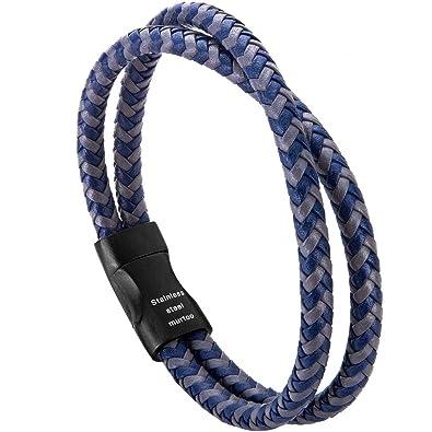 8f98388ac7aa murtoo Pulsera Hombre Cuero Trenzada Cruzada Brazalete con Cierre Magnética  Acero Inoxidable - 21cm (Azul
