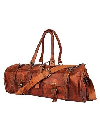 30056e502557 CraftShades Duffle Leather Bag Handmade Vintage Style Sports Gym    Overnight Hiking Travel Luggage