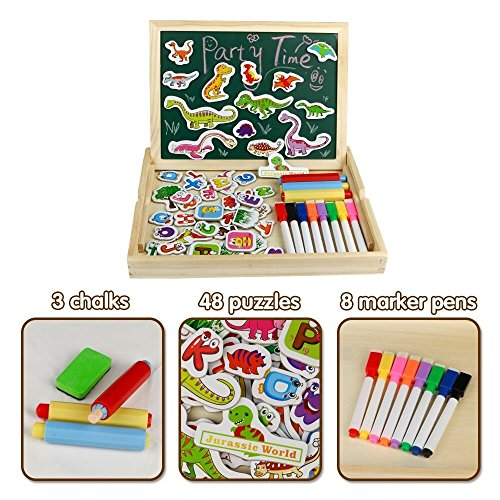 Wooden Educational Toys Magnetic Drawing Board Art Easel Animals Jigsaw Puzzles Dry Erase Double Side Magnetic Board Game Toys Gift for Kids Toddlers, Classic Theme and Dinosaur Theme, Random Delivery by Fajiabao (Image #3)