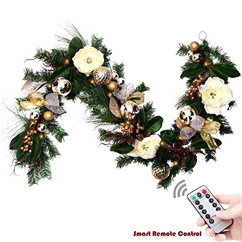 Valery Madelyn Pre-Lit 72 Inch/6Feet Luxury Champagne Gold Christmas Garland with Shatterproof Ball Ornaments, Ribbon, Artificial Simulation Flower, Battery Operated 20 LED Lights with Remote Timer Garland