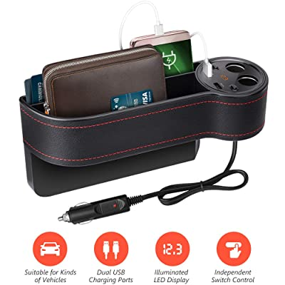 Beusoft Car Seat Gap Filler, Console Side Pocket Full Premium PU Leather Car Seat Storage Organizer with 2 USB Charging Ports 2 Lighters Sockets: Automotive