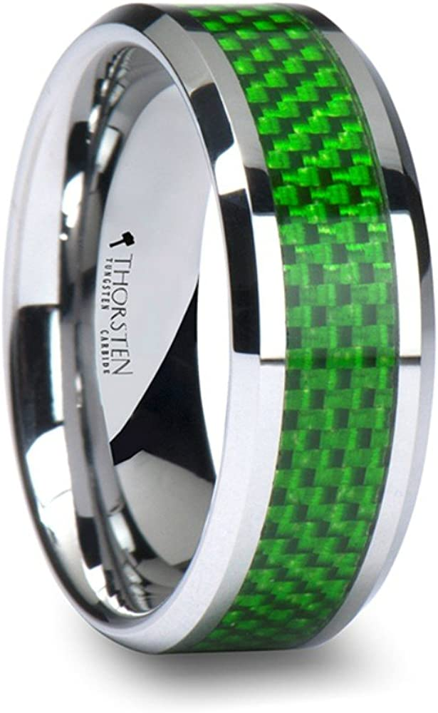 Thorsten Vermont Tungsten Carbide Contemporary Metal Wedding Band Ring with Emerald Green Carbon Fiber Inlay 8mm Wide from Roy Rose Jewelry
