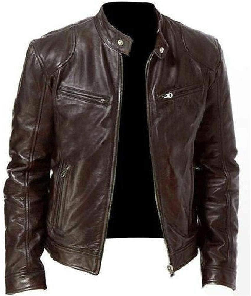 Hombres Vintage Cool Jacket Cuero Manga Larga Otoño Invierno Stand Collar Club Coat Prendas de Abrigo Chaqueta Fina Rompevientos