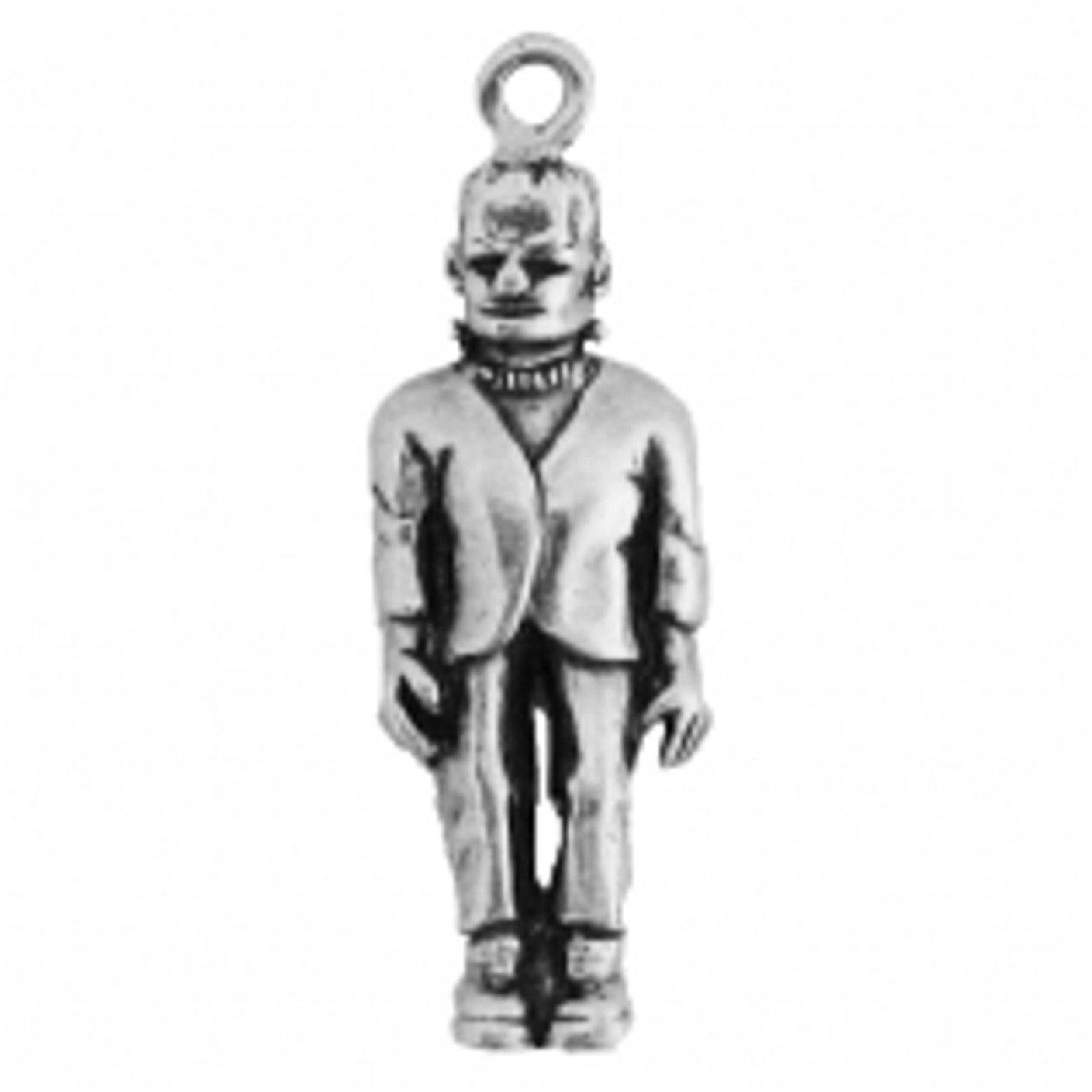 Sterling Silver Mens Unisex 1.5mm Box Chain 3D Standing Frankenstein Pendant Necklace