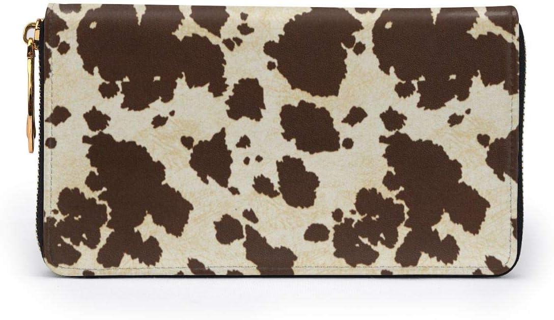 Big Cow Fur Print Pattern Womens RFID Blocking Zip Around Wallet Genuine Leather Clutch Long Card Holder Organizer Wallets Large Travel Purse