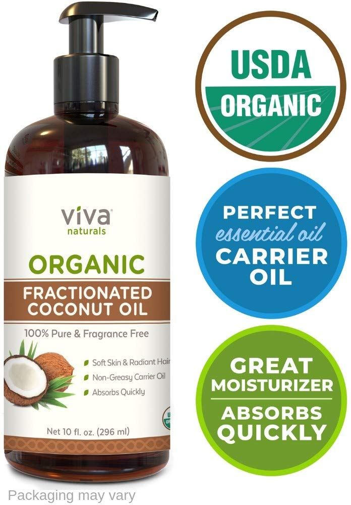 Viva Naturals Organic Fractionated Coconut Oil - 100% Pure USDA Certified Massage Oil, Perfect Carrier for Essential Oils (10 oz)
