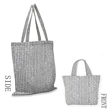 Bolsa de lona gris y blanco con diseño de pétalos de ramas y ...