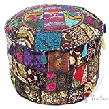 Eyes of India - 22 X 12 Black Patchwork Round Ottoman Pouf Pouffe Cover Floor Seating Bohemian Boho Indian