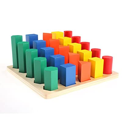 New Sky Enterprises Montessori Colored Geometric Cylinders With Fitted Container Kids Wooden Blocks Shape & Color Recognition Material Toys (Geometric cylinders): Toys & Games