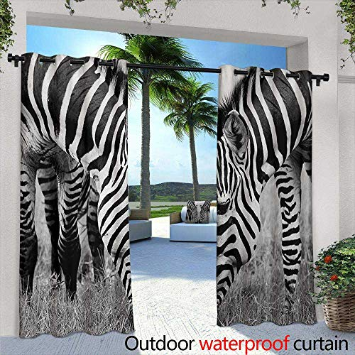 Tim1Beve Indoor/Outdoor Curtains Animal Zebras African Wildlife Burchell Safari Theme National Park Monochrome Picture Waterproof Patio Door Panel 84