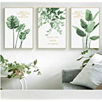 Mzl Semplice Nordic Green Plant Letters Pittura decorativa Soggiorno Decorazione Pittura ad olio Set Tre pezzi (senza cornice)