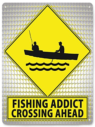 Yetta Quiller Fishing addict METAL street Sign funny mancave gift bait shop wall decor 30x40cm. art