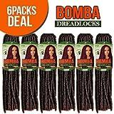 Bobbi Boss Synthetic Hair Crochet Braids Faux Locs Style Senegal Bomba Dreadlocks (6-Pack, 1B)