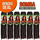Bobbi Boss Synthetic Hair Crochet Braids Faux Locs Style Senegal Bomba Dreadlocks (6-Pack, 1B)
