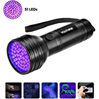 YOUTHINK Linterna UV con 51 LED, Detector Ultravioleta de 395 NM para Detectar Orina de Mascotas en Alfombra, Flashlight Portable para Escorpión