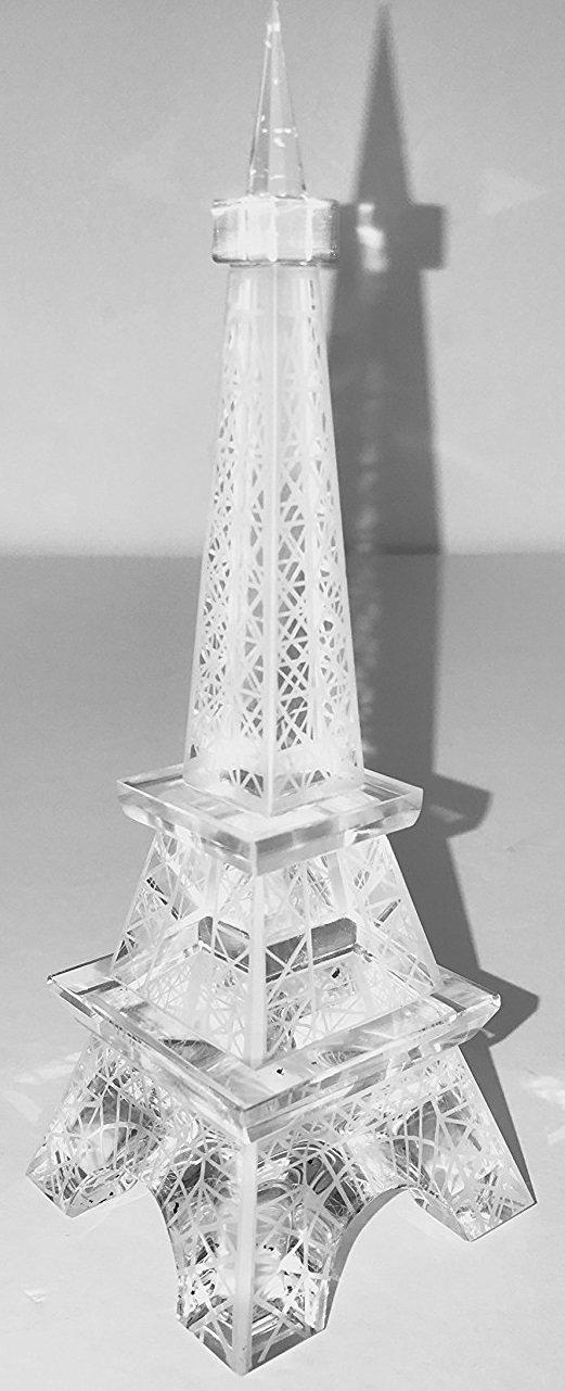 "SunRise 7"" Clear Crystal Collectible Eiffel Tower Art Craft Statue Paris France Souvenir Home Decor"