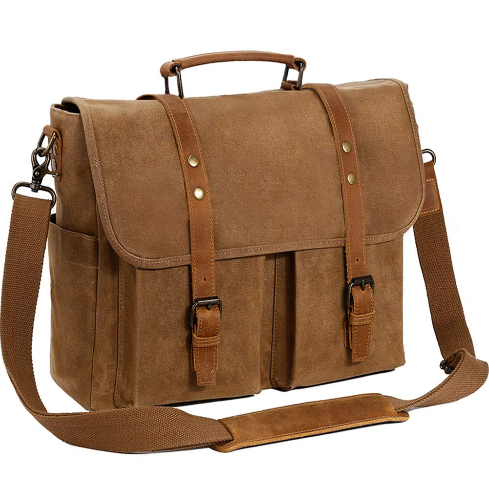 Mens Messenger Bag 15.6 Inch Genuine Leather Canvas Waxed Waterproof Laptop Bag Large Capacity Satchel Retro Computer Work Vintage College Shoulder Bag Tablet Briefcase,Brown