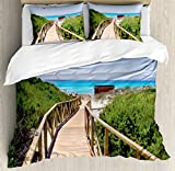 Beach Duvet Cover Set by Ambesonne, Beach Pathway over the Woodland in Spain Countryside Cottage Summer Sun Print, 3 Piece Bedding Set with Pillow Shams, Queen / Full, Green Cream Blue