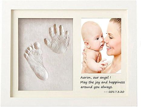 Reci/én Nacido beb/é Regalo regalo de baby shower Recuerdo Memorable #4 LEAMALLS Beb/é Marco Para Manos y Huellas Fotos Kit