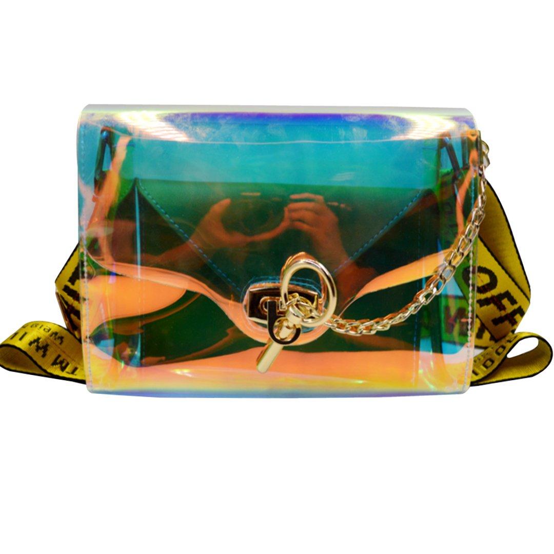 Felice Summer Clear Handbags Fashionista Shoulder Message Bags with Interior Envelope Clutch (transparent)