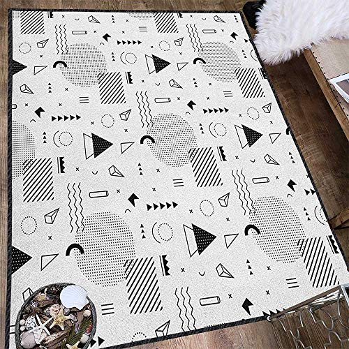 Black and White Polyester Fiber Area Rugs,Indie Style Art with Abstract Triangle Square and Different Shapes Pattern for Children Play Dormitory White Black 63