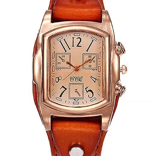 Scpink Retro Design Quartz Analog Lady Relojes, Relojes para Mujer, a la Venta Liquidación Female Watches Square Relojes de Pulsera de Cuero para Mujer ...
