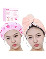 Gifts for Women Girl Set of Most Absorbent Hair Towel & Double Layer Shower Cap w/Premium Gift box By ZECREK (Pink)