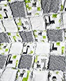 Baby rag quilt green black grey white