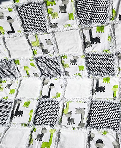 Baby rag quilt green black grey white by Laughing Heart Designs