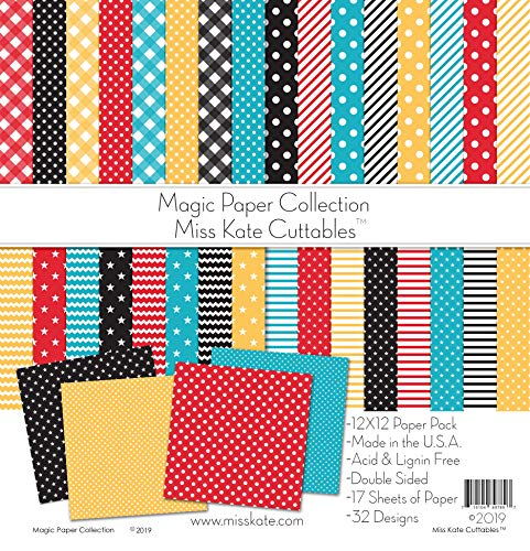 "Pattern Paper Pack - Magic Basics - for Disney - 17 Double-Sided 12""x12"" Collection Includes 34 Patterns - Scrapbooking Card Making Crafting - by Miss Kate Cuttables"