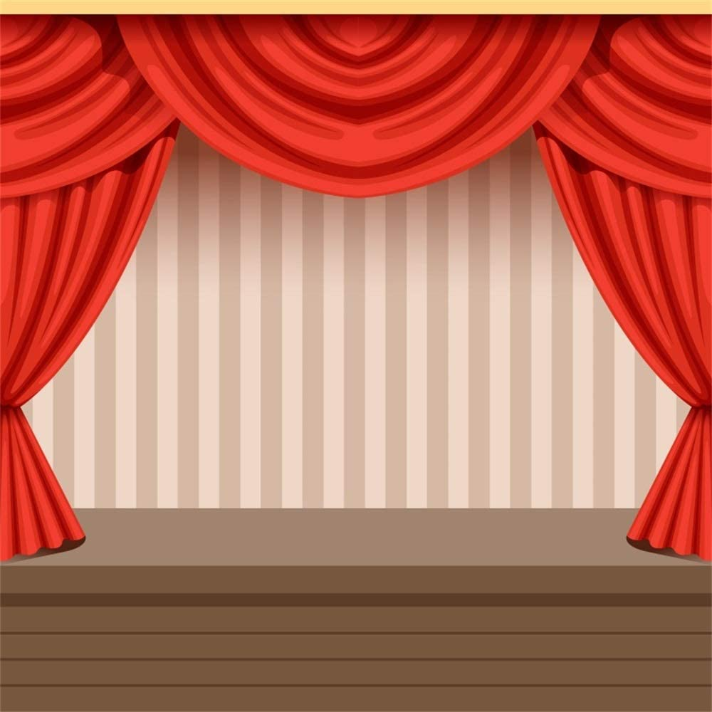 GoEoo 5x5ft Stage Theater Red Curtain Background Thunderstorm Purple Screen Black Wood Plank Floor Photography Backdrop for Portrait Video Performance TV Shower Photo Studio Props