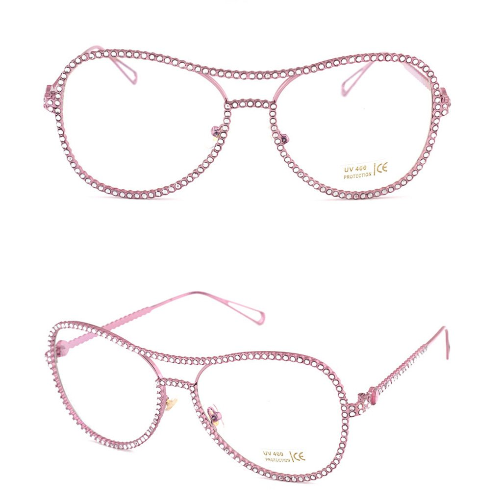 EA-STONE Women Oversized Metal Frame with Rhinestone Eye Glasses,Clear Lens Nerd Spectacles Stylish Glasses Party Glasses (Pink) by EA-STONE