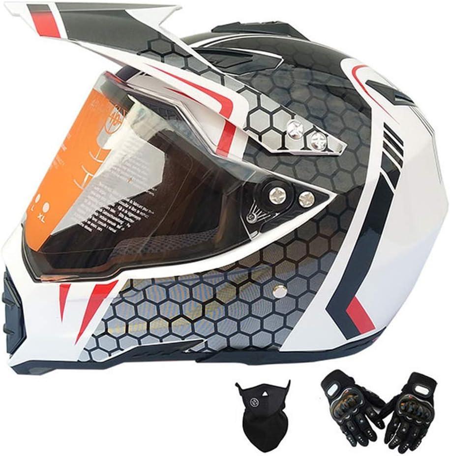 フルフェイスマウンテンバイクヘルメット成人用モトクロスヘルメットバイザーグローブマスク付き、バイククロスヘルメットオフロードヘルメットセットバイククラッシュヘルメット防護服、ホワイト、グレー,M