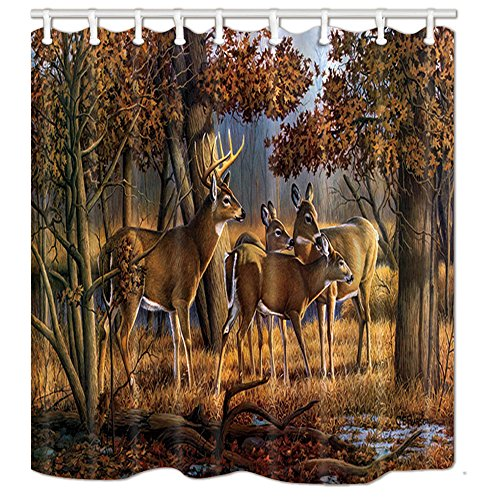 NYMB Wild Safari Animals Deer Woodland Shower Curtains in Bath, Whitetail Elk in Tropical Autumn Forest Fabric Bath Curtain, Shower Curtain Hooks Included, 69X70in