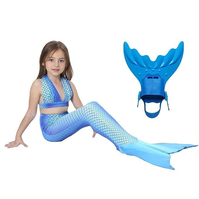 Amazon.com: dolpind las niñas Sparkle cola de sirena traje ...