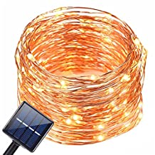 Solar Led String Lights, T-EASY Solar Powered String Lights, 8 Modes 72ft 200 LED Copper Wire Starry String Lights Waterproof Solar Powered Lights for Outdoor, Indoor, Wedding, Garden, Christmas, Party (Warm White)