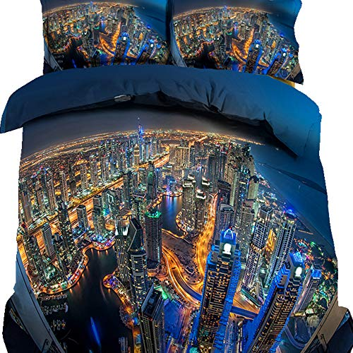 Micro Engineering Bridge (HyUkoa 4 Piece Duvet Cover Set Breathable Brushed Microfiber Fabric Skyline Lights Scenic Bridge View Night Architecture Bay Bedding Set,Full Size/No Comforter/Style 10)