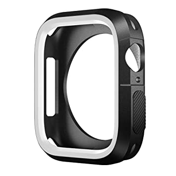 SLEO Funda para Apple Watch de Silicona Anti Gota Anti Rasguña TPU Carcasa Protectora para iWatch 44MM - Blanco